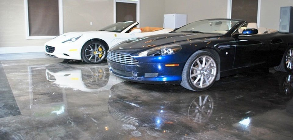 Polished concrete floors in a car dealership.