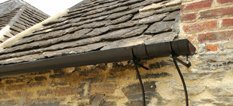 Cast iron guttering on a house