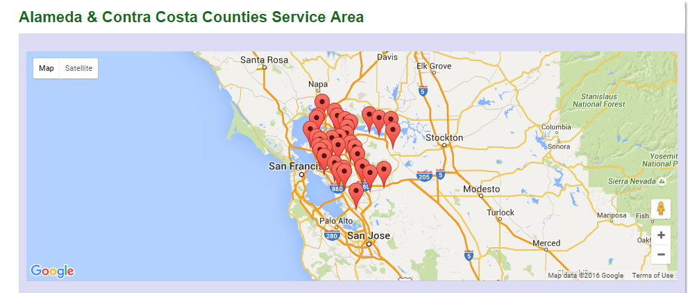 Alameda and Contra Costa County Area Map