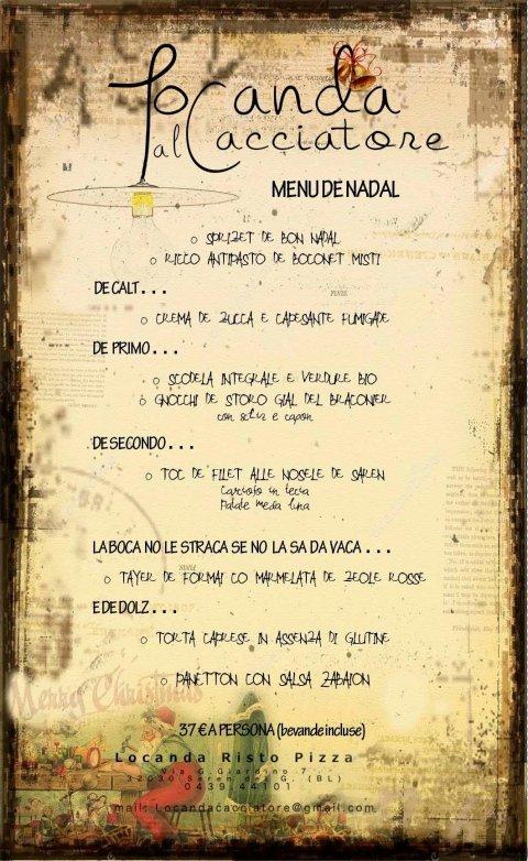 menu Locanda al Cacciatore