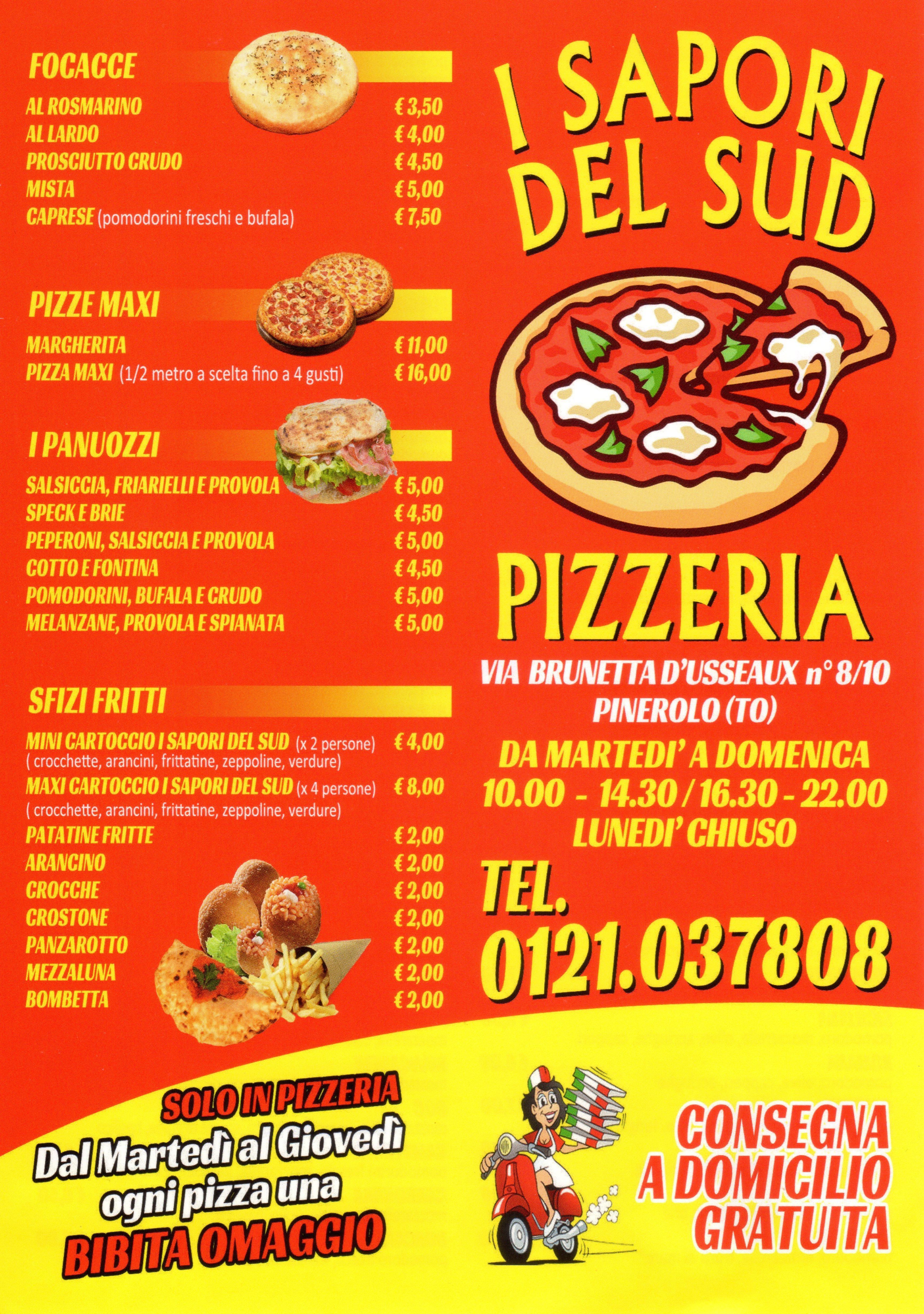 menu pizzeria sapori del sud