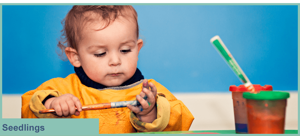 Little boy painting his hand