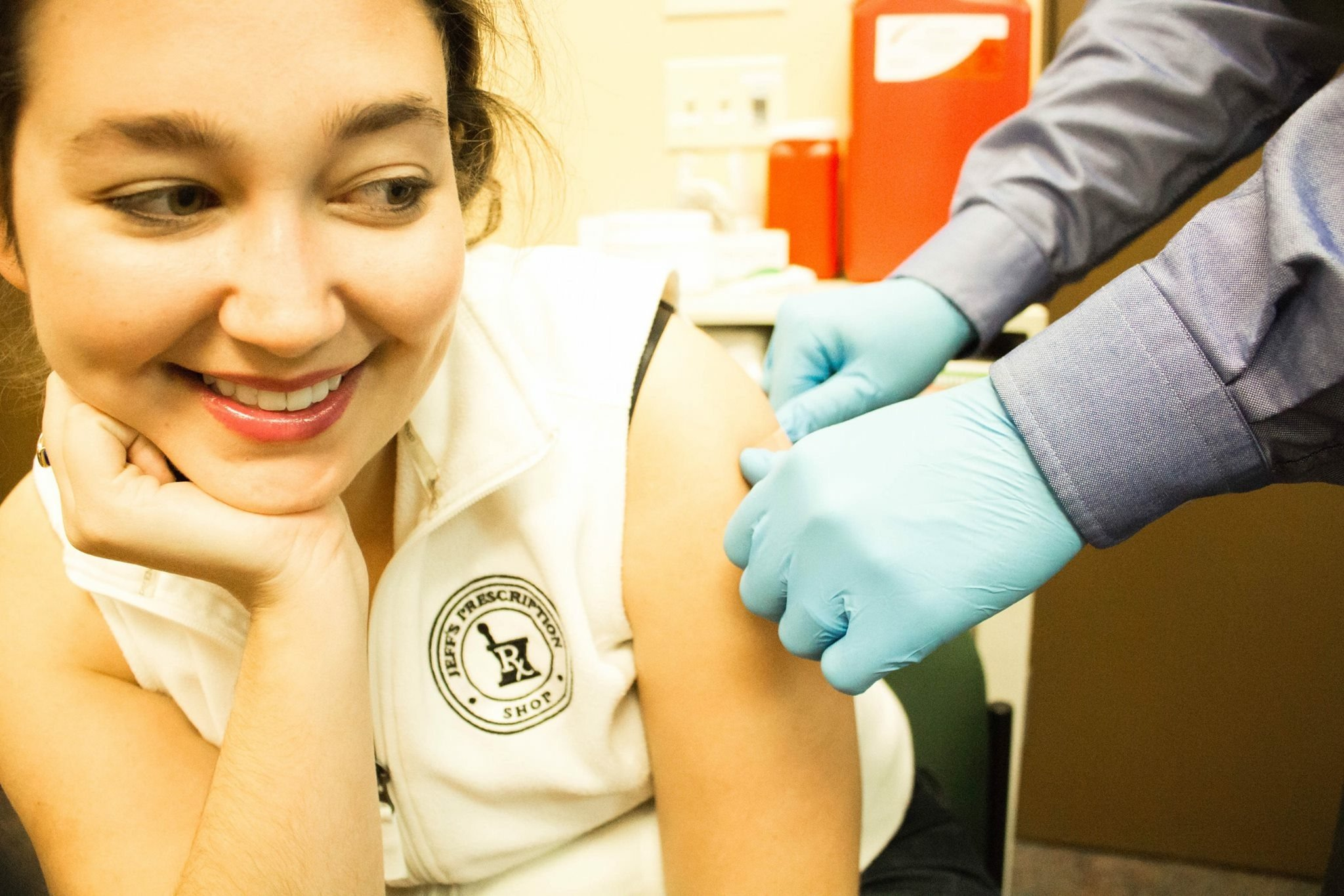 A girl getting flu shots in Elizabethtown, KY