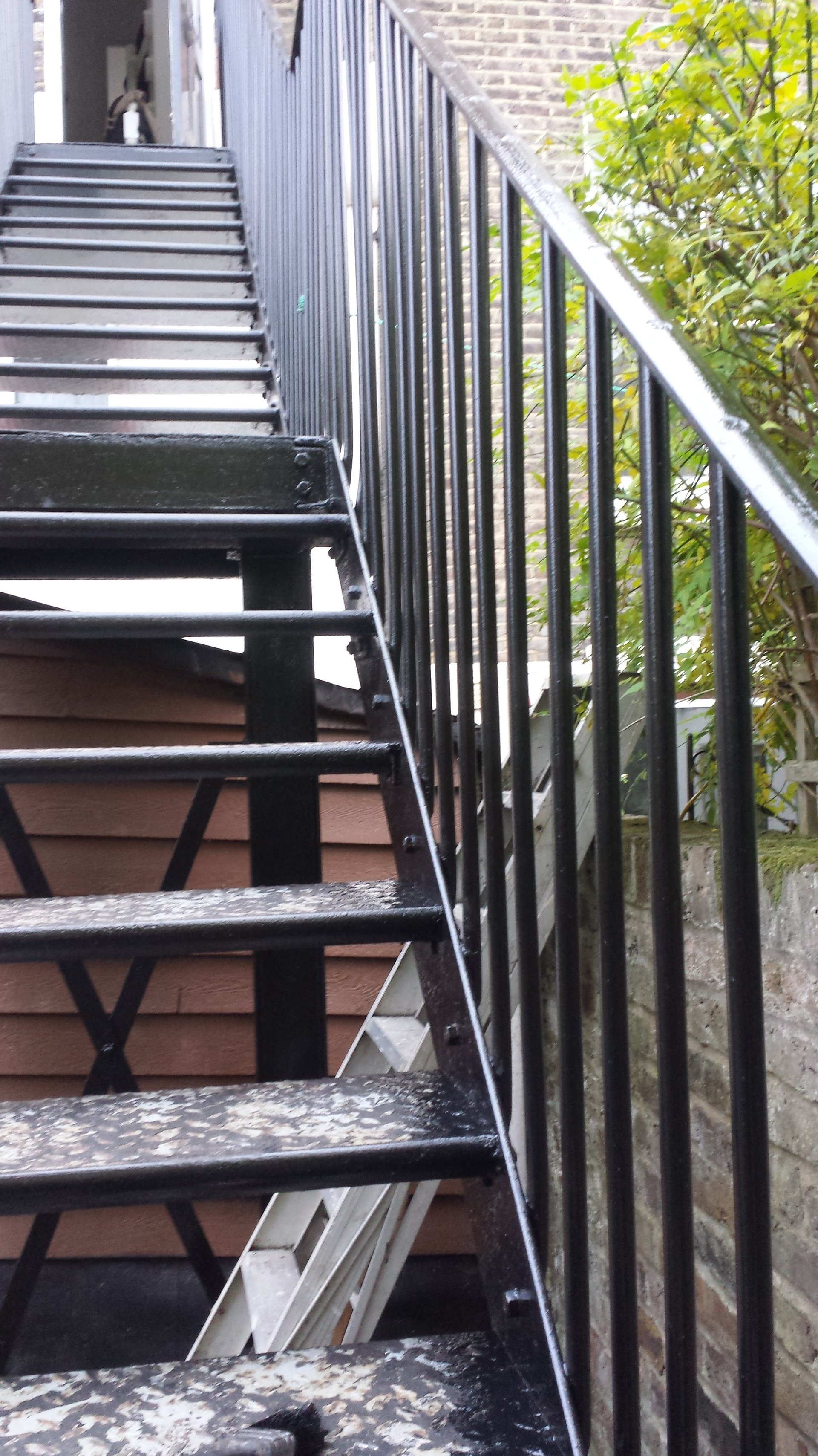 partial view of stairs