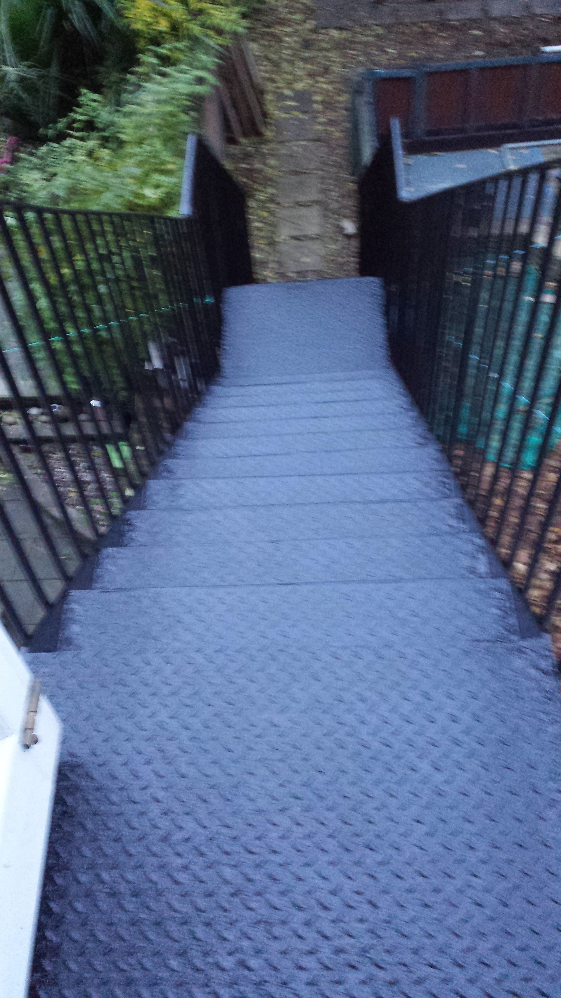 closer view of metal stairs