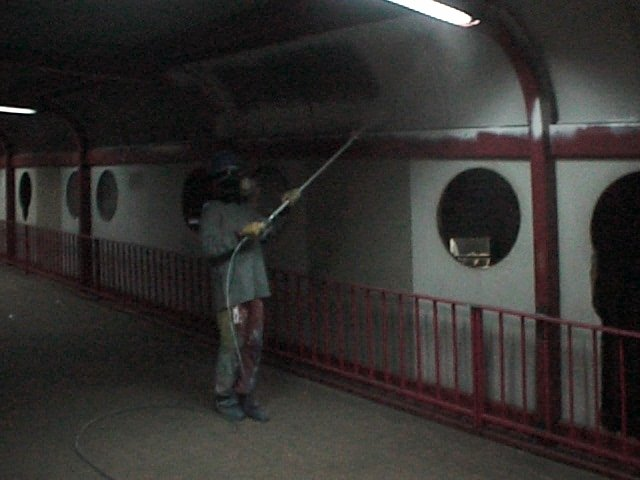 interiors of the station being cleaned