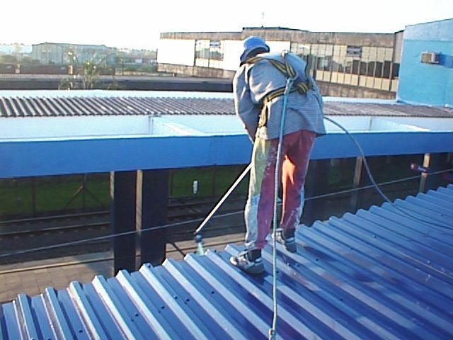 station roof being cleaned