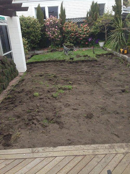 Garden landscaping process in progress