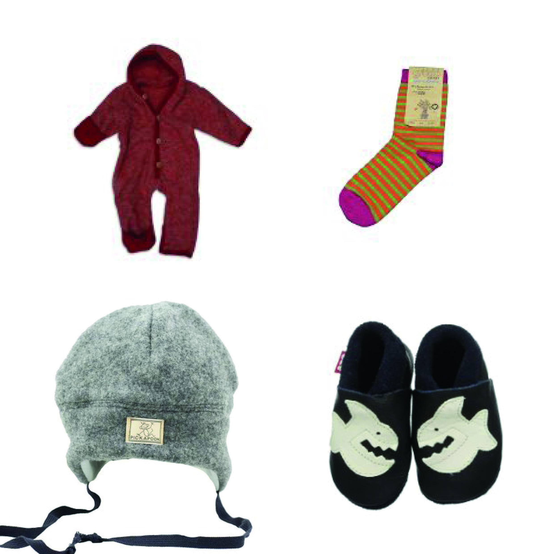 Baby-Overall Cosilana, Kinder-Söckchen Grödo, Kinder-Mützen Pickapooh, Kinder-Hausschuhe Pololo