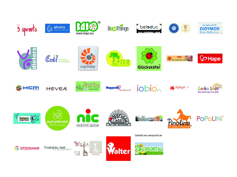 Logos von 3-sprouts, ahrens, BAJO, BeCoThings, belsduc, DIDYMOS, dieters, ergobaby, ESTIA, Glückskäfer, Hape, HCM, HEVEA, HickUps, Hoppedix, iobio, Kallisto, Lanka Kade, Naturkind, nic, Pappnase, Pinolino, POPOLINI, STOCKMAR, Theraline, Walter