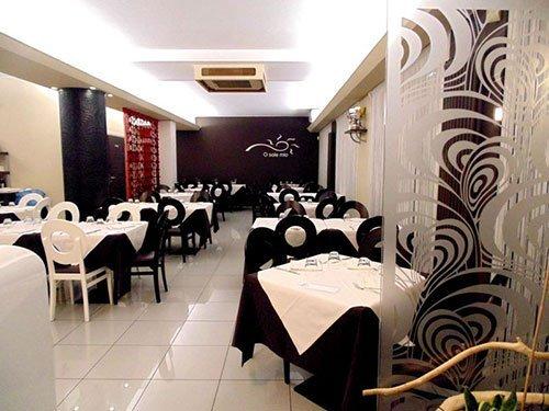 vista dei tavoli e delle sedie in un ristorante
