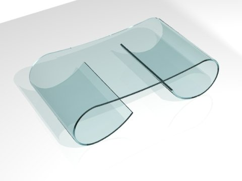 tavolo curvo in vetro