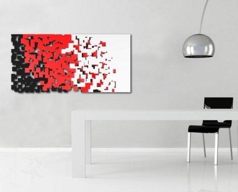 scultura in legno nero rosso bianco