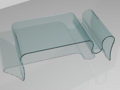 tavolo con portariviste in vetro