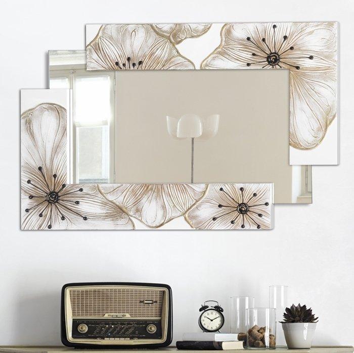 specchiera con cornice in vetro fiorato