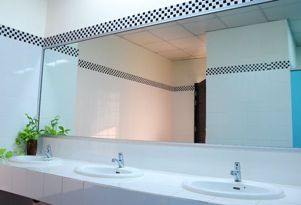 View of a big commercial bathroom mirror