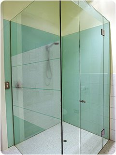 green glass shower