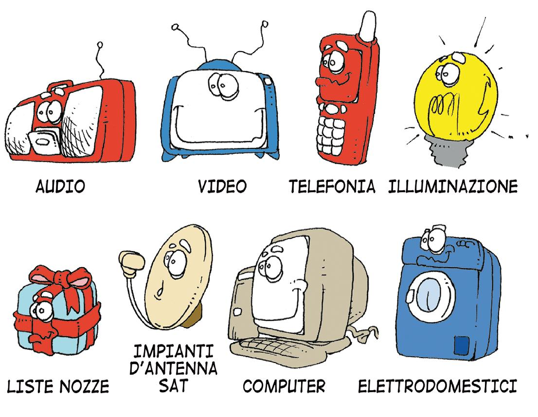 fumetti che riproducono elettrodomestici