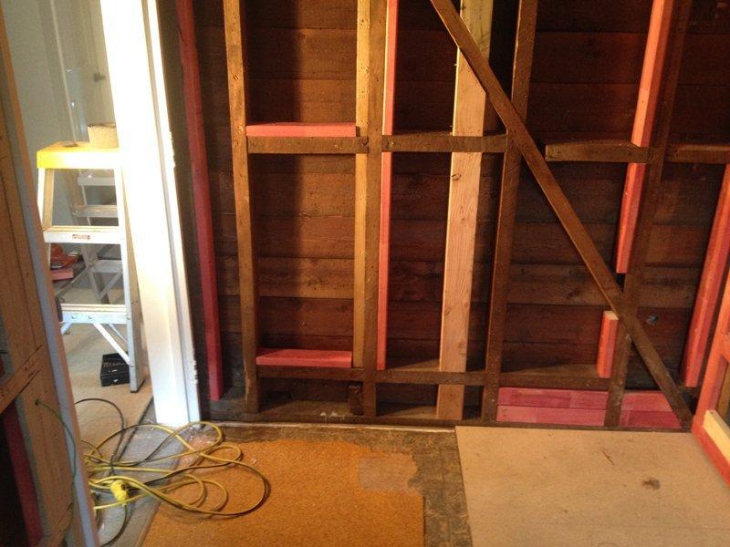 Interior view of under construction bathroom