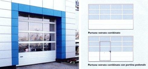 Portone vetrato combinato