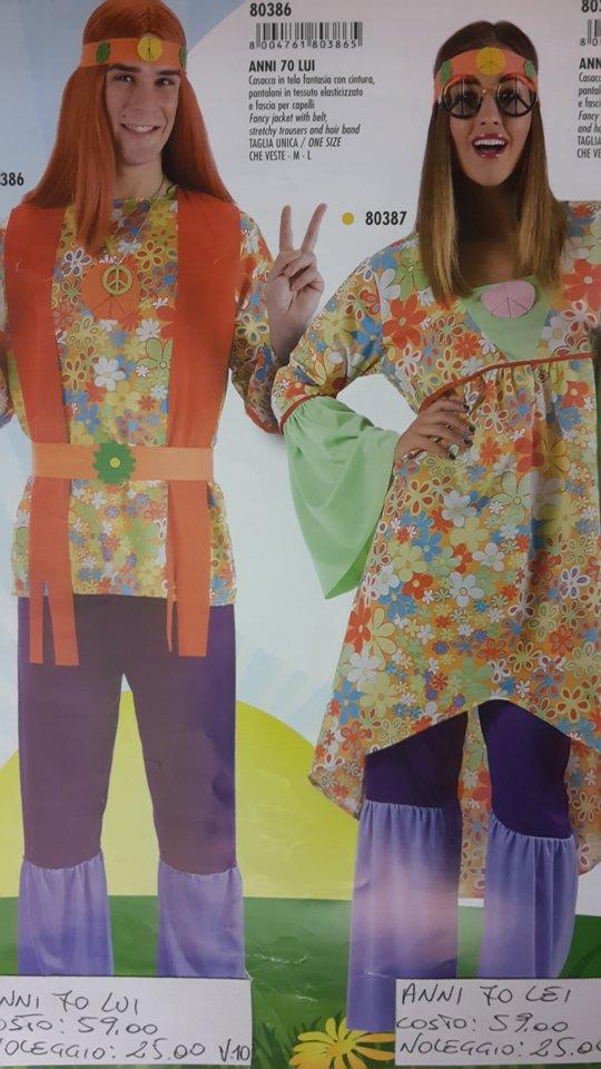 vestito carnevale uomo e donna hippie