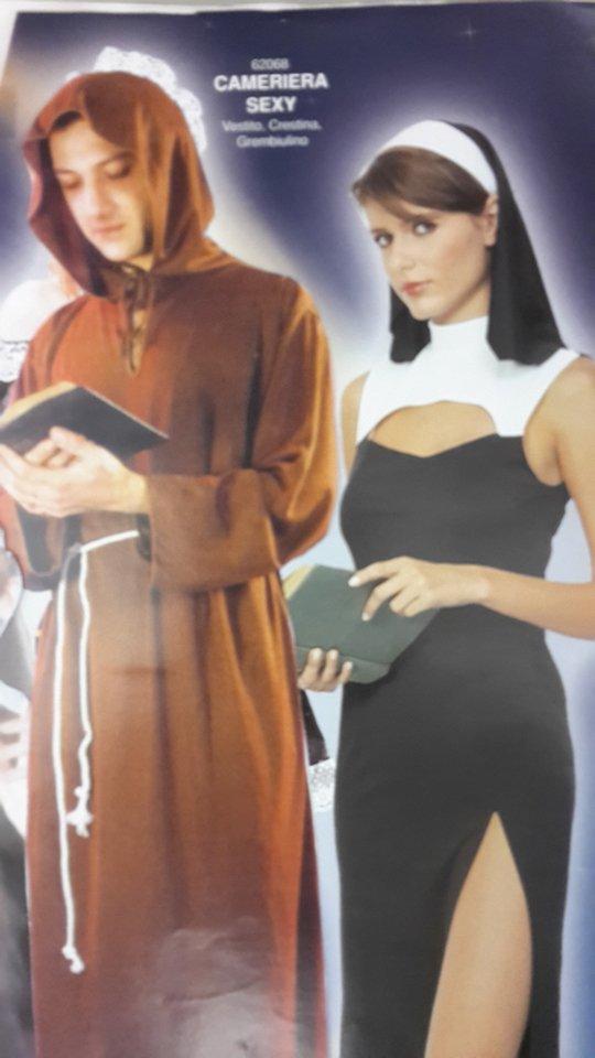 vestito carnevale suora e prete