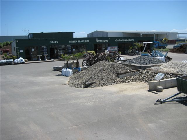 Piles of crushed rock and mulch