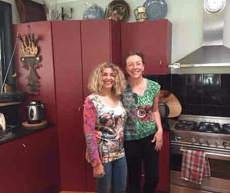 View of couple of women enjoying in kitchen
