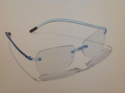 Gafa di vetri senza montatura con spinotti di colore blu