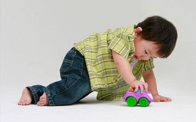 a toddler playing