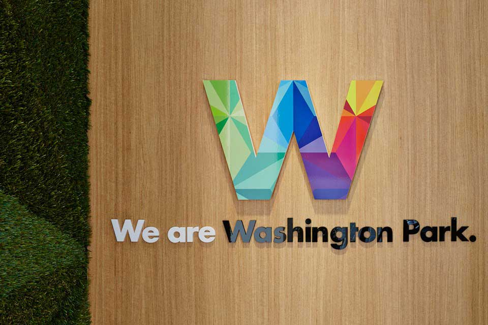 colorful w for we are washington logo