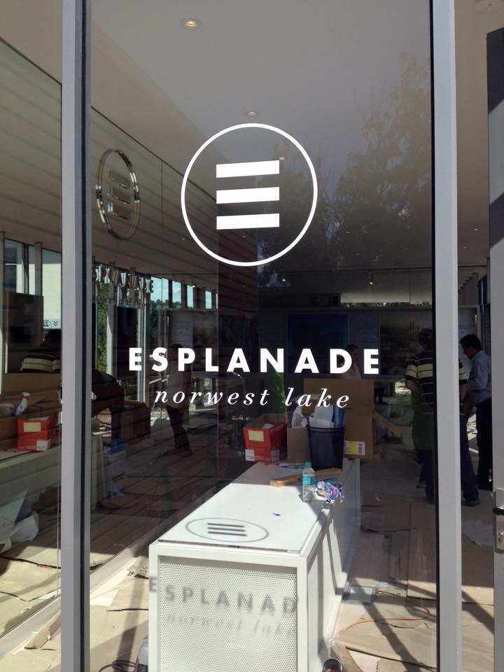 esplanade sign on window