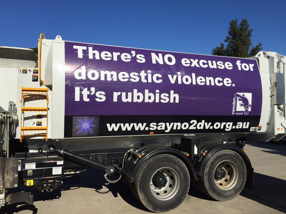 no exuce for domestic violence sign on truck