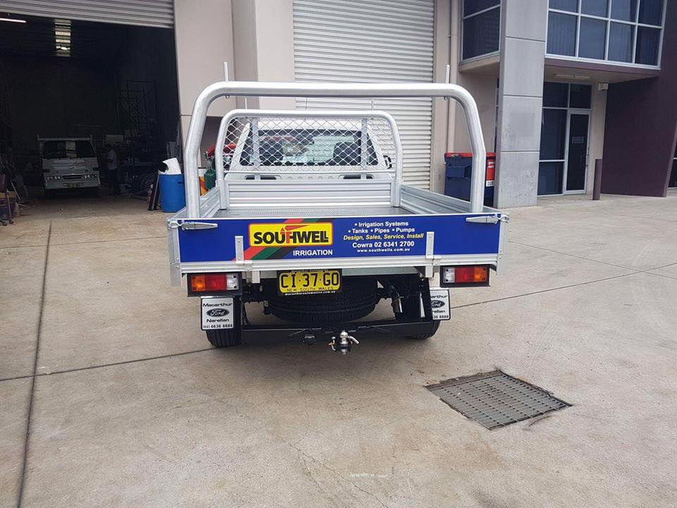 southwell irrigation sign on back of ute