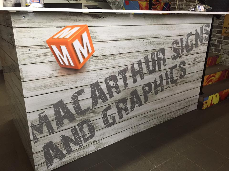 macarthur signs and graphics wood board logo