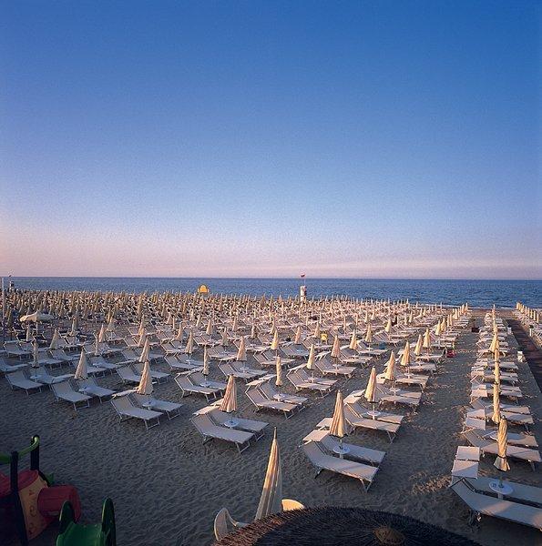 vista di una spiaggia con lettini