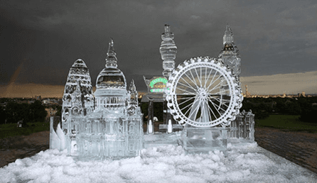 carving of London buildings from ice