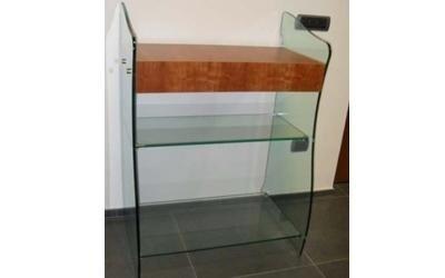 mobiletto in vetro e legno