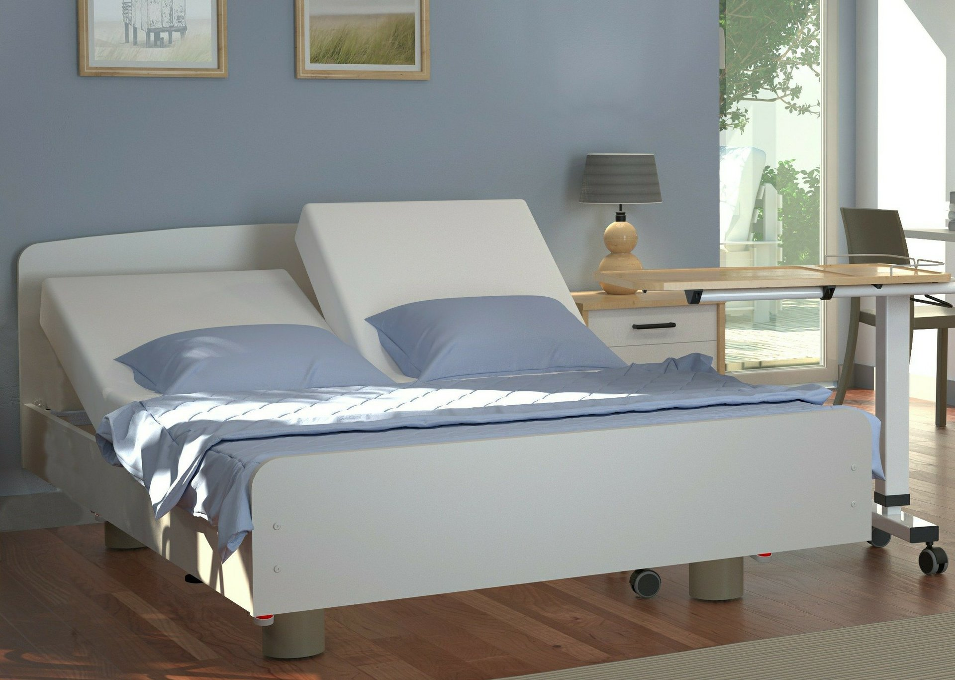 Baroness twin profiling, height adjustable bed.