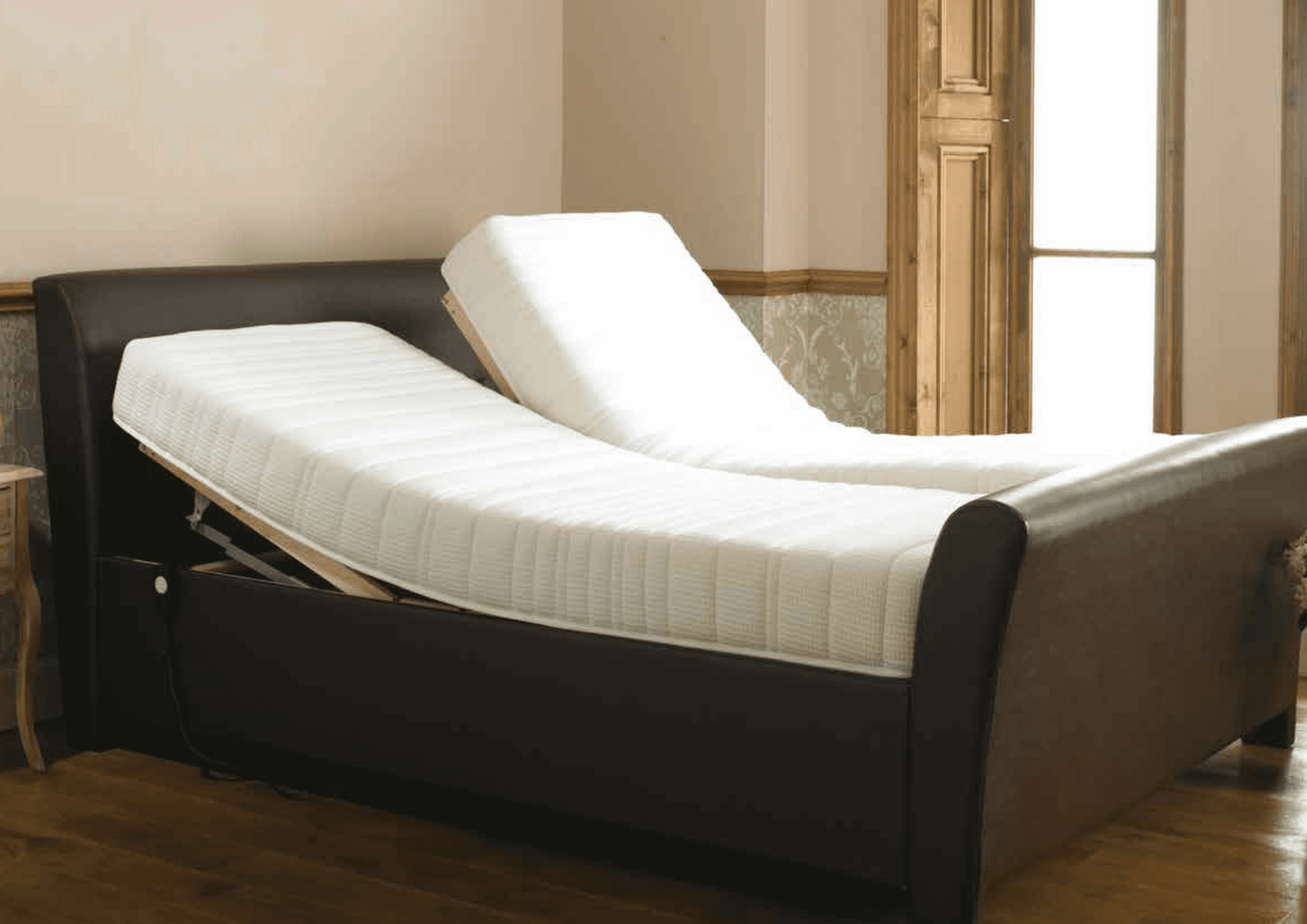 Single double and twin adjustable divan beds rent or for Single divan bed without mattress