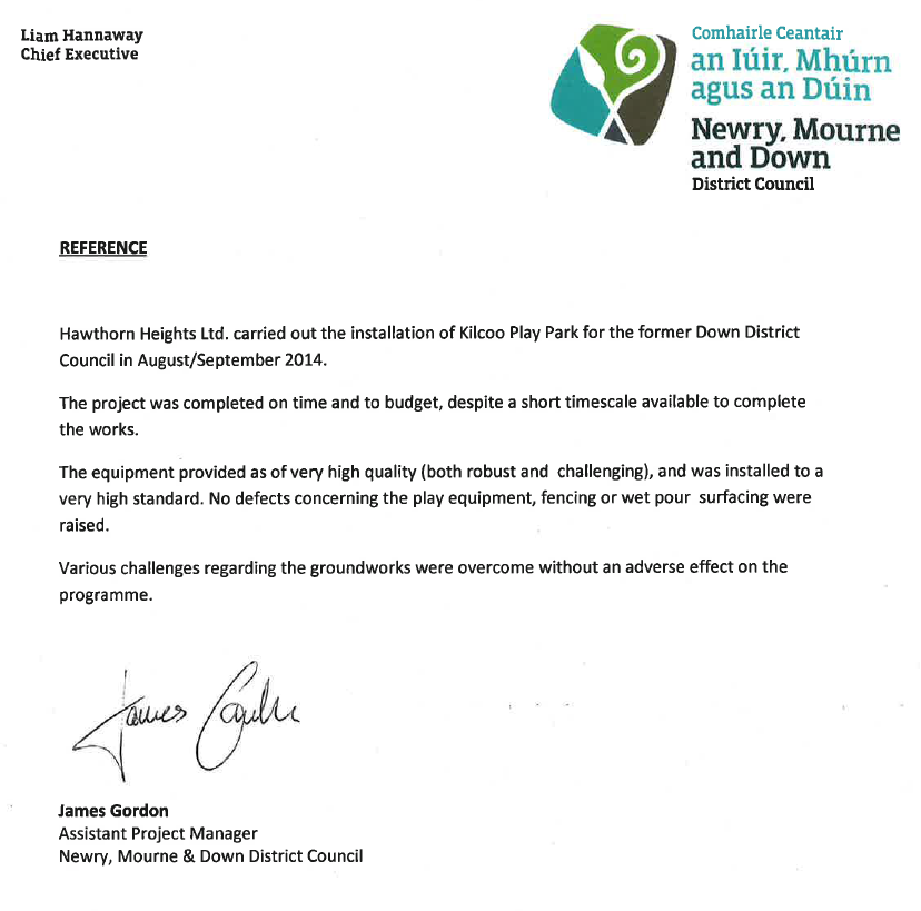 Letter of recommendation from Newry, Mourne and Down council