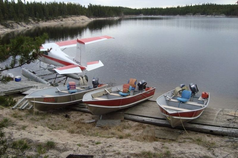 Float Plane and Boats on Shore