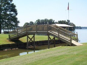 View of a wooden bridge built on water in Alabama