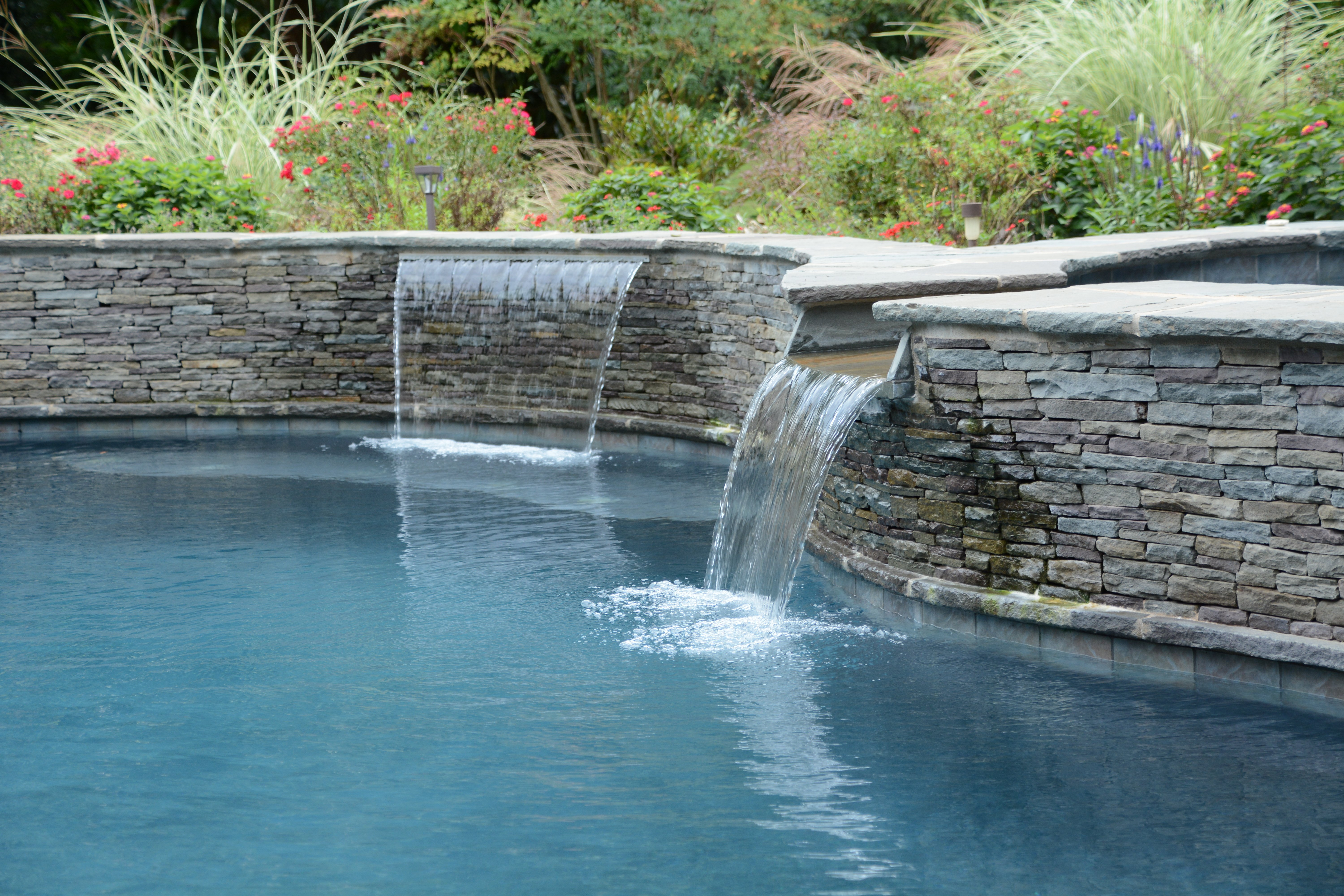 Inground Spas With Stack Stone : Water features inground pool concord nc aloha pools