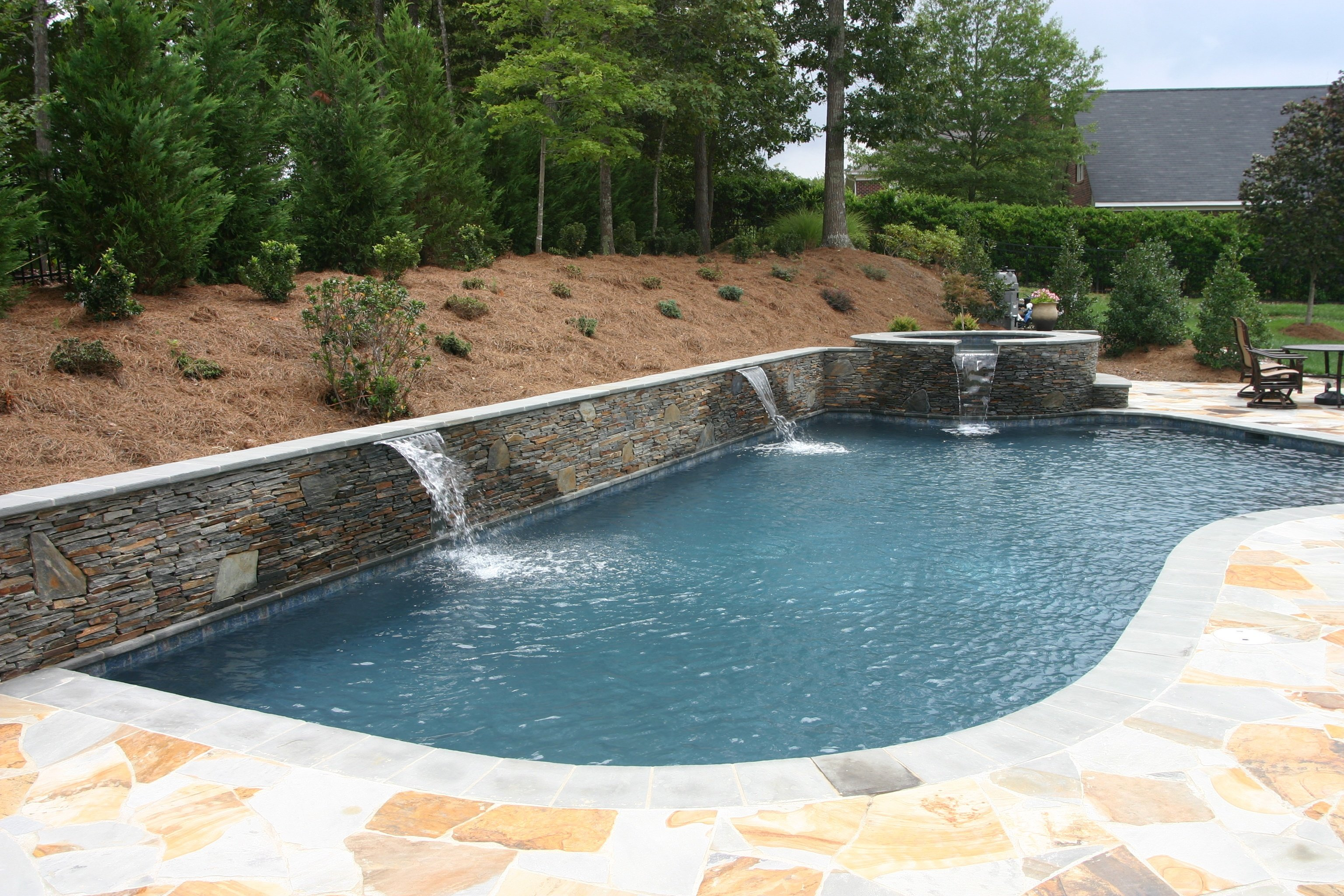 Water Features Inground Pool Concord Nc Aloha Pools