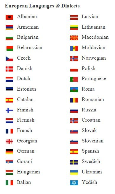 how to say thank you in different languages list