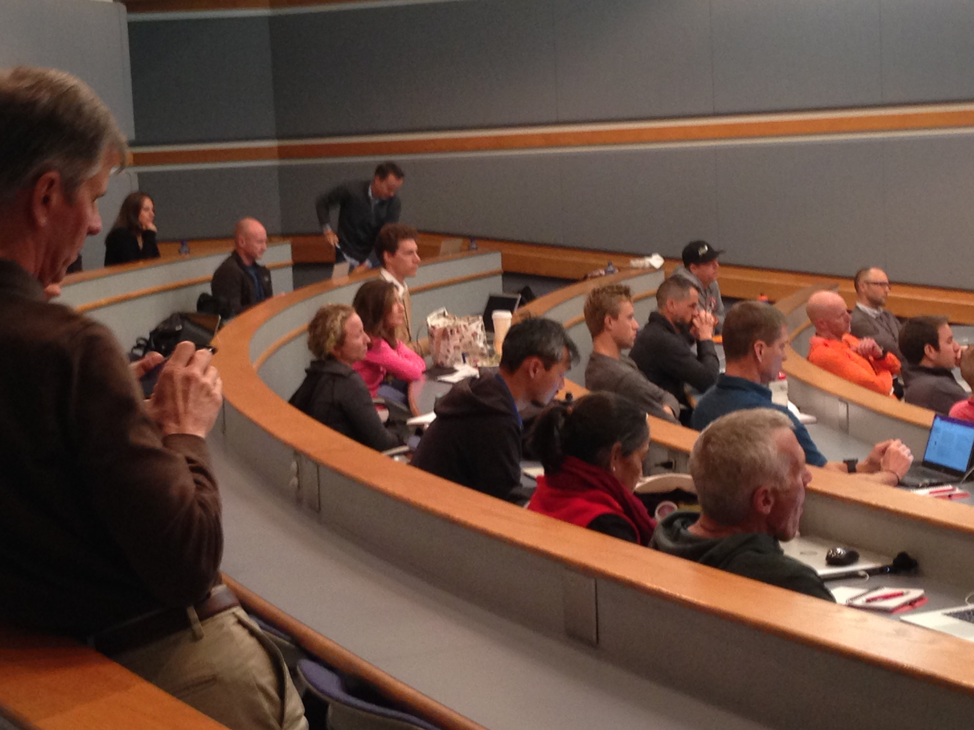 audience at the 2016 ITP4ES conference, Andy Coggan, Tim Cusick, Amber Neben, Dean Golich