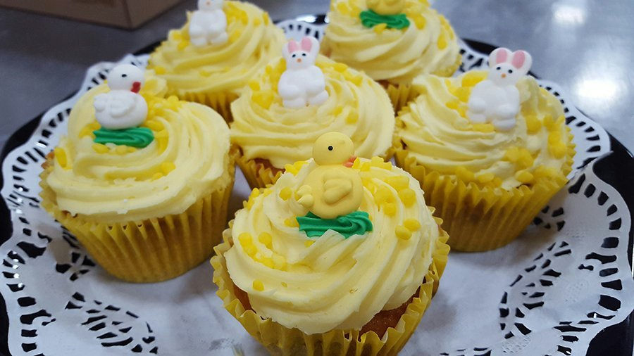 Yellow Easter cup cakes with yellow chicks and white bunnies on top