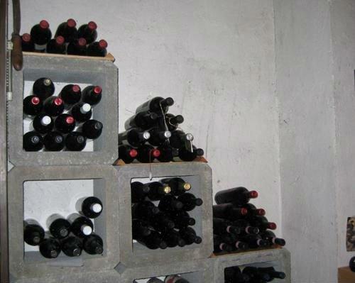 delle bottiglie di vino scaffalate