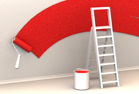 red paint roller wall